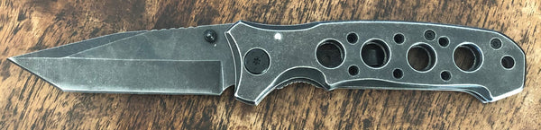 Distressed Metal with Holes Knife