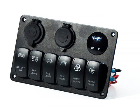 6 Board Rocker Switch, USB and 12V Inputs