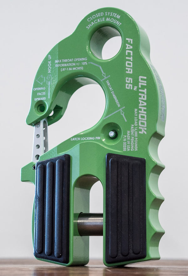 UltraHook Winch Hook with Shackle Mount - GREEN