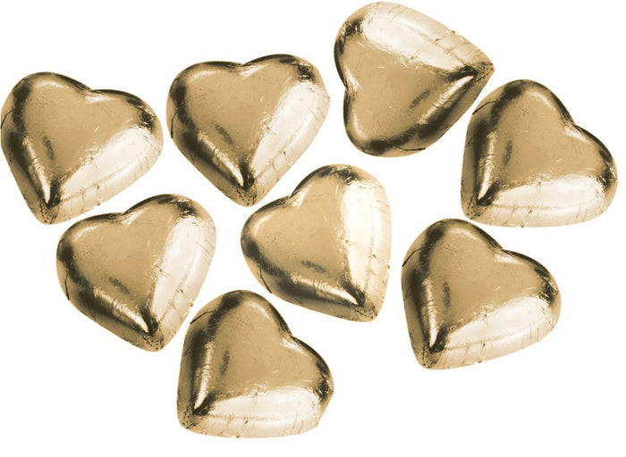 8 gold Swiss milk chocolate hearts from our chocolatier