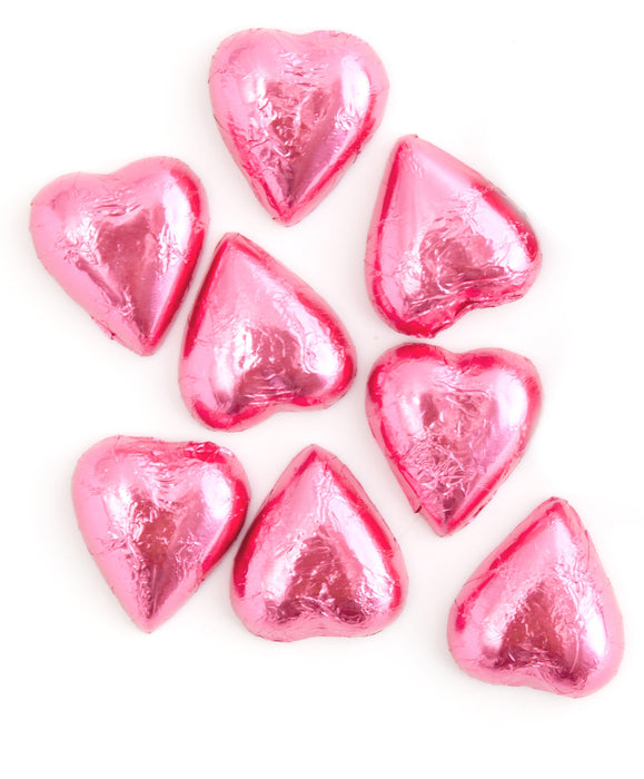 8 pink Swiss milk chocolate hearts