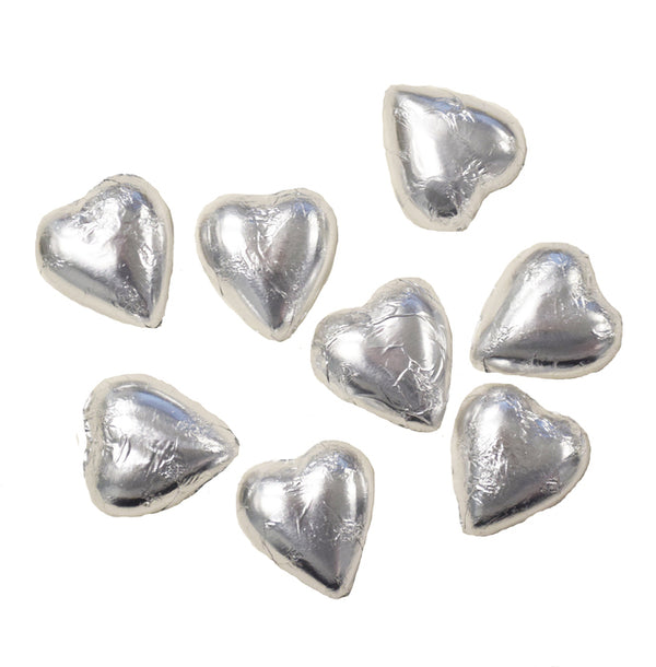 8 silver Swiss milk chocolate hearts from our chocolatier