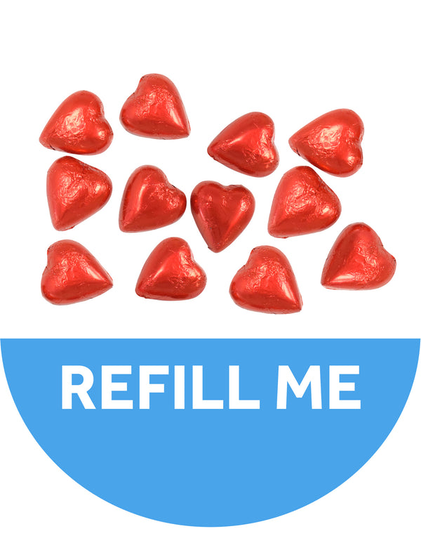 24 Red Swiss Chocolate Hearts - 2 dozen Refill