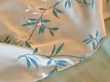 Soft Aqua Velvet with Cream and Aqua Vine