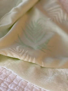 Soft Celadon Velvet with Cream and Green Ferns