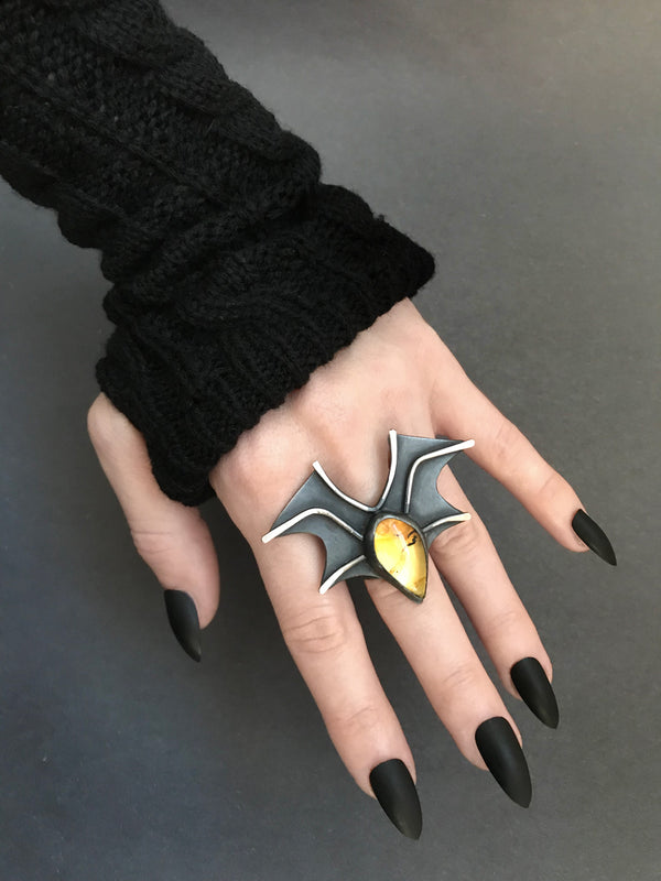 Teardrop Amber Bat Ring