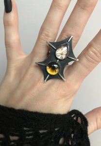 Creature Ring with Amber and Tourmalated Quartz