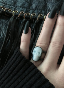 White Quartz Skull Orbit Ring - MADE TO ORDER