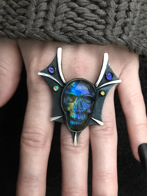 Evil Queen Labradorite Skull Ring