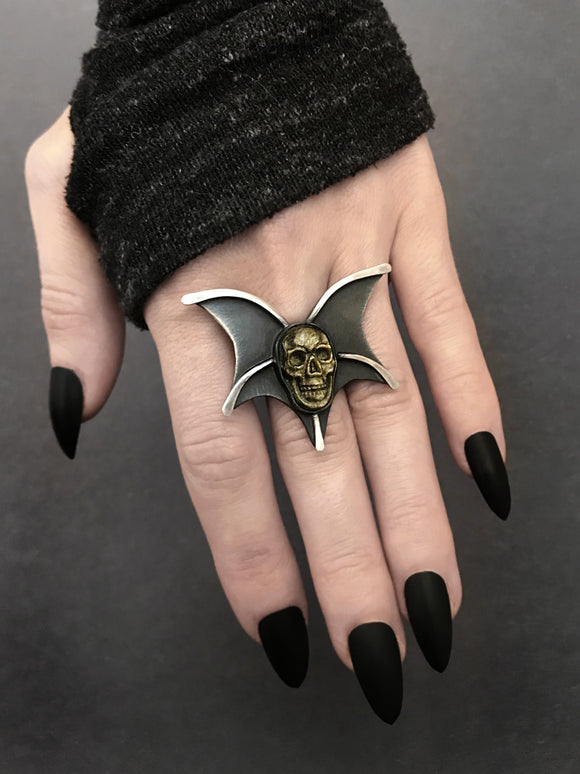 Gold Sheen Obsidian Skull with Bat Wings Ring - RESERVED