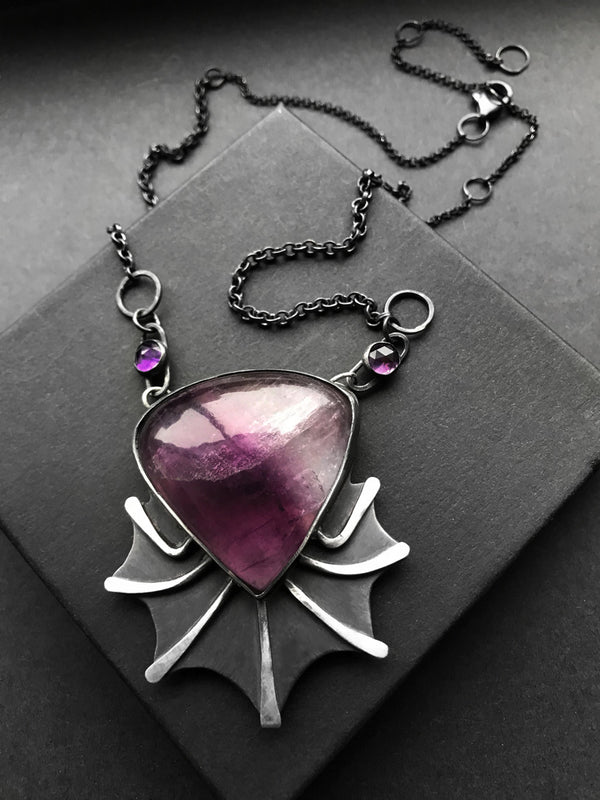 Purple Fluorite and Amethyst Creature Necklace