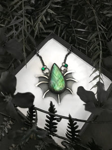 Labradorite and Green Onyx Creature Necklace