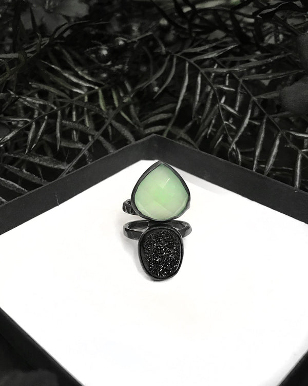 Faceted Seafoam Chalcedony and Black Druzy Thorax Ring