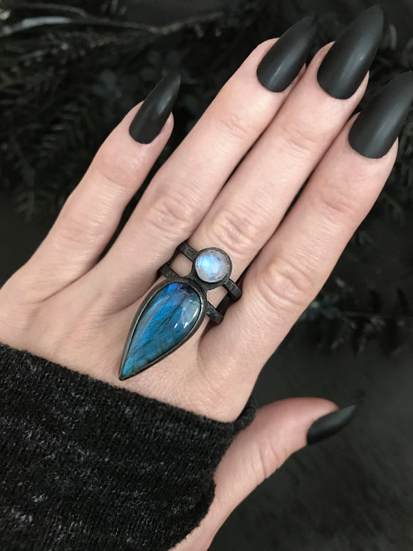 Labradorite and Rainbow Moonstone Ring