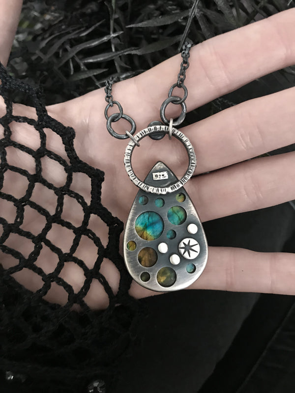 Teardrop Labradorite with Craters Pendant