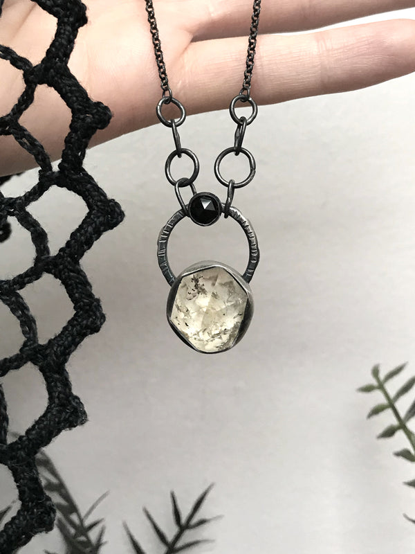 Herkimer Diamond and Black Onyx Necklace