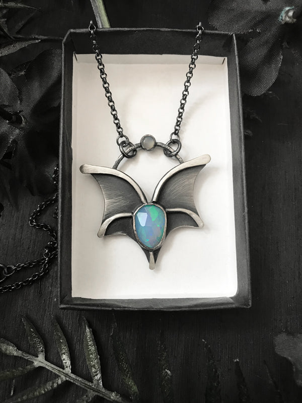 Faceted Opal Bat Wing Necklace