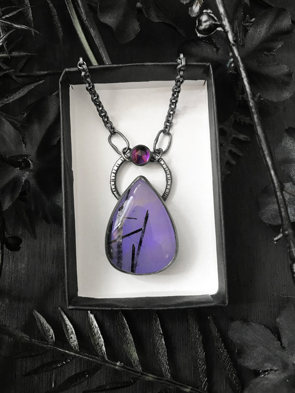 Ultraviolet Glowing Tourmalinated Quartz Necklace