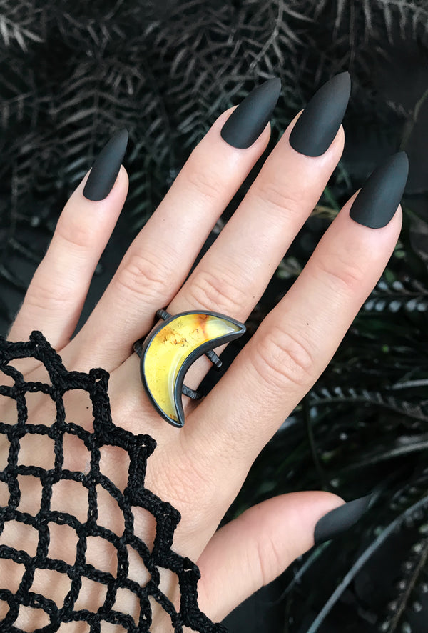 Mexican Amber Moon Ring