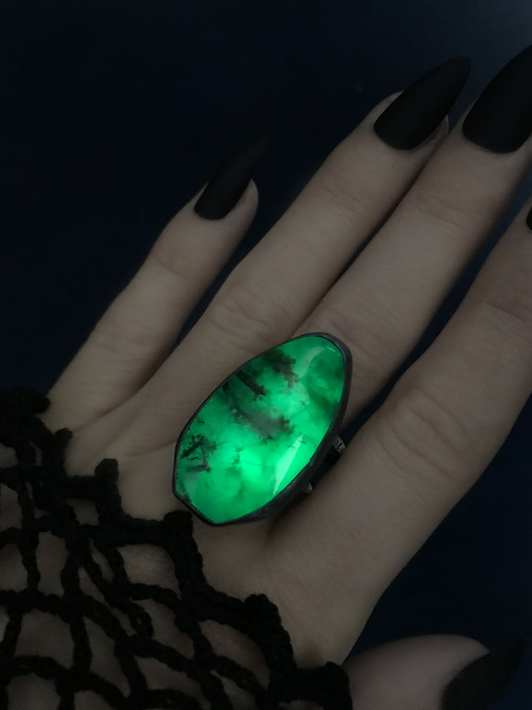 Green Glow in the Dark Prehnite Coffin Ring