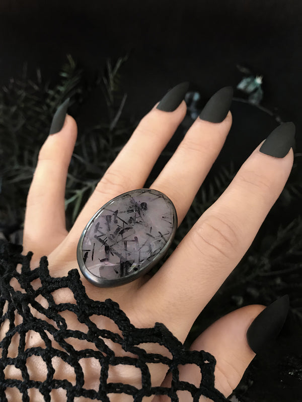 Giant Ultraviolet Tourmalinated Quartz Ring