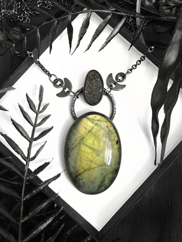 Huge Golden Green Labradorite and Black Druzy Amulet