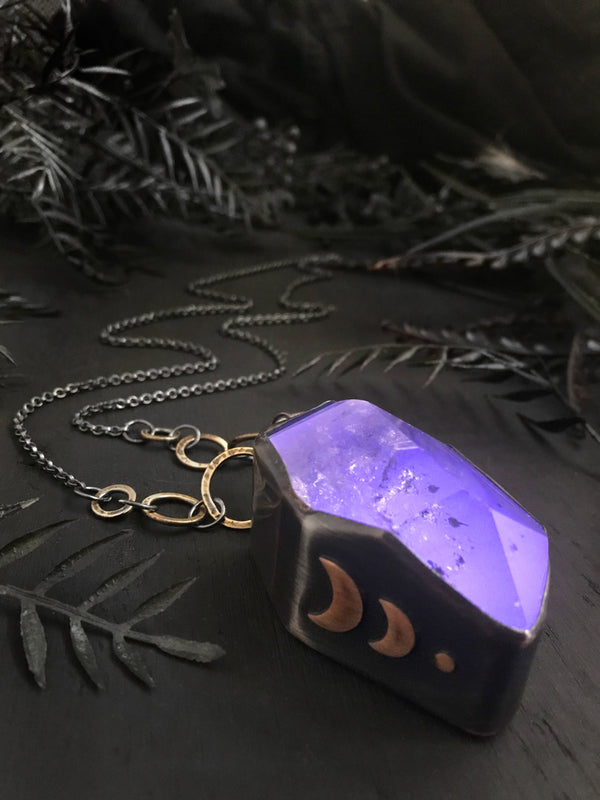 """Solar Flare"" Giant Glowing Purple Quartz Pendant"