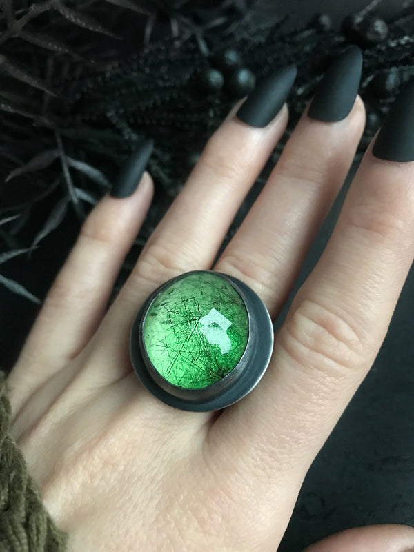 Glowing Green Rutilated Quartz Crystal Ball Ring