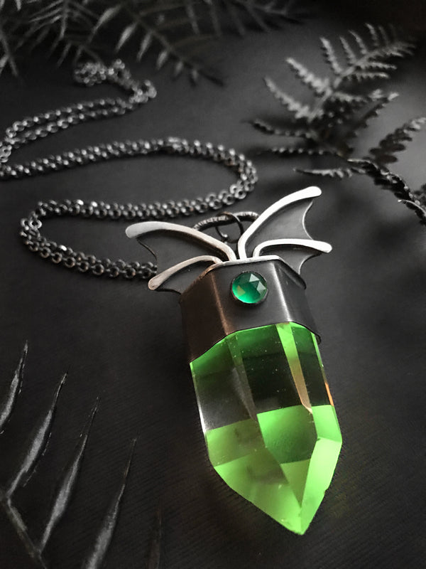 Glowing Green Quartz Bat Wing Pendant
