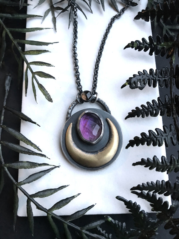 Ametrine and Smoky Quartz Lunar Amulet