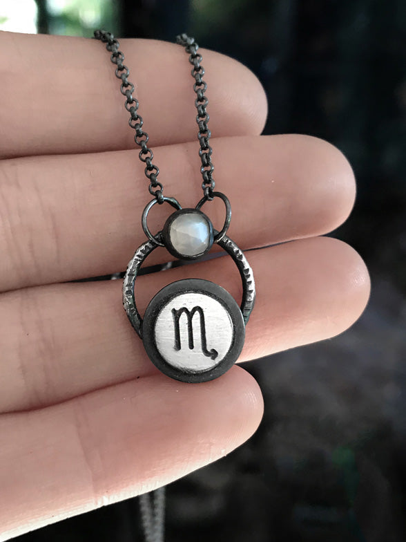 Zodiac Sign Moonstone Necklace