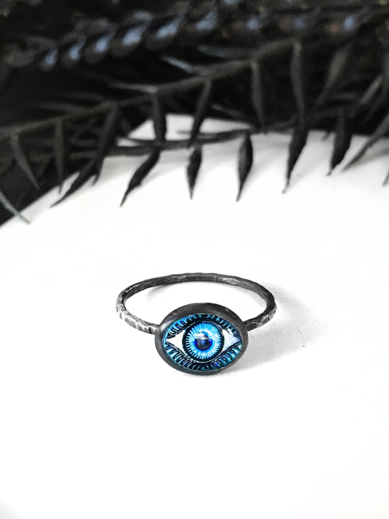 Blue Glass Eye Ring