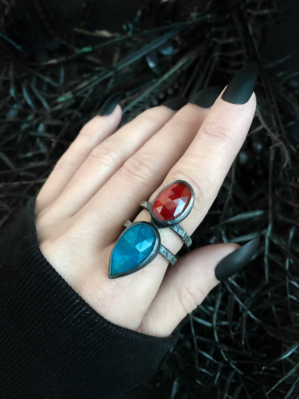 Hessonite Garnet & Blue Apatite Thorax Ring