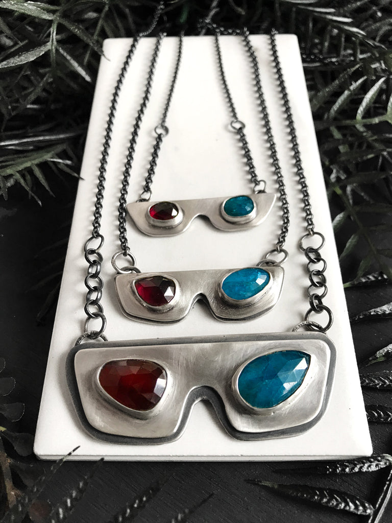 3D Glasses Necklace with Hessonite Garnet & Blue Apatite - 3 Sizes Available