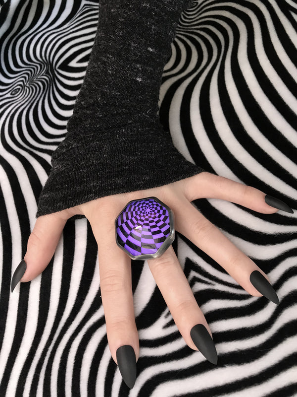 Huge Glowing Purple Psychedelic Orbit Ring