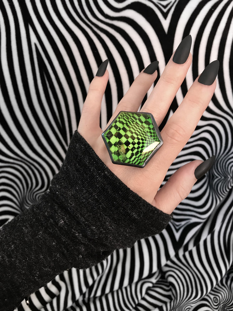 Huge Glowing Green Psychedelic Orbit Ring