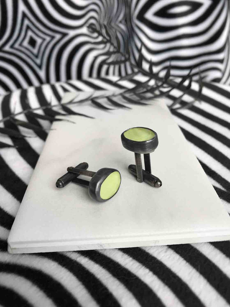 Glowing Green Quartz Cufflinks