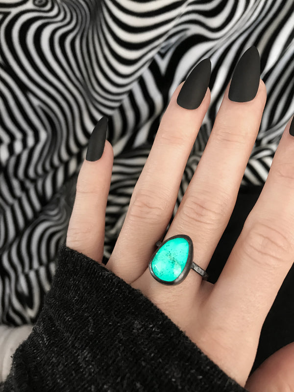 Glowing Blue Moss Aquamarine Ring