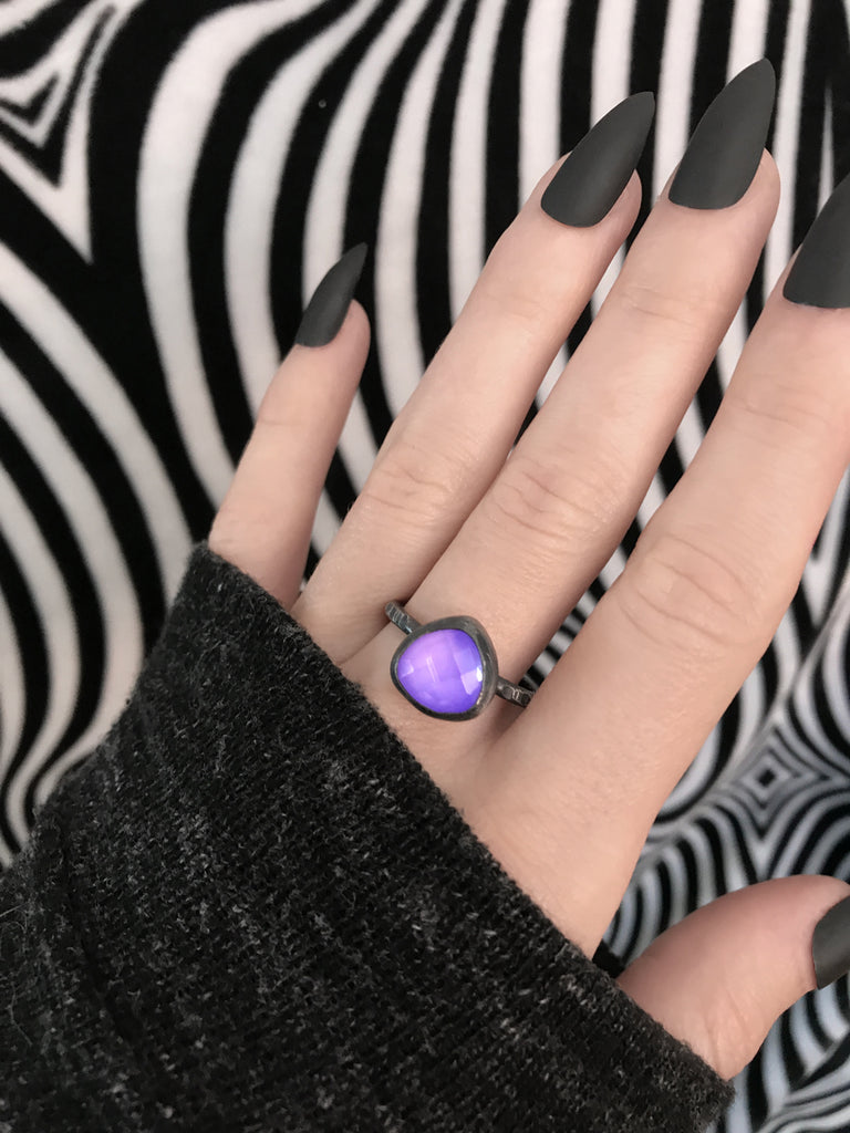 Glowing Purple Quartz Ring