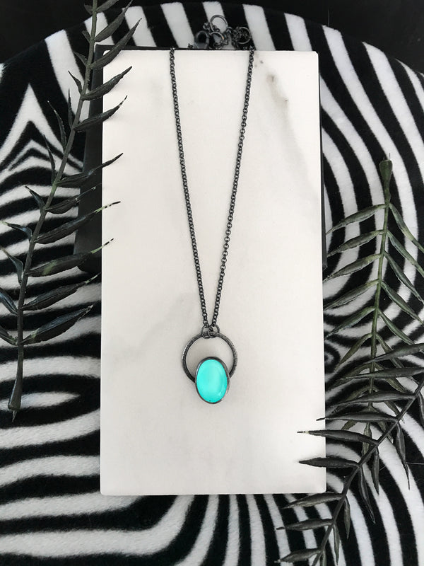 Dainty Blue Glowing Quartz Necklace