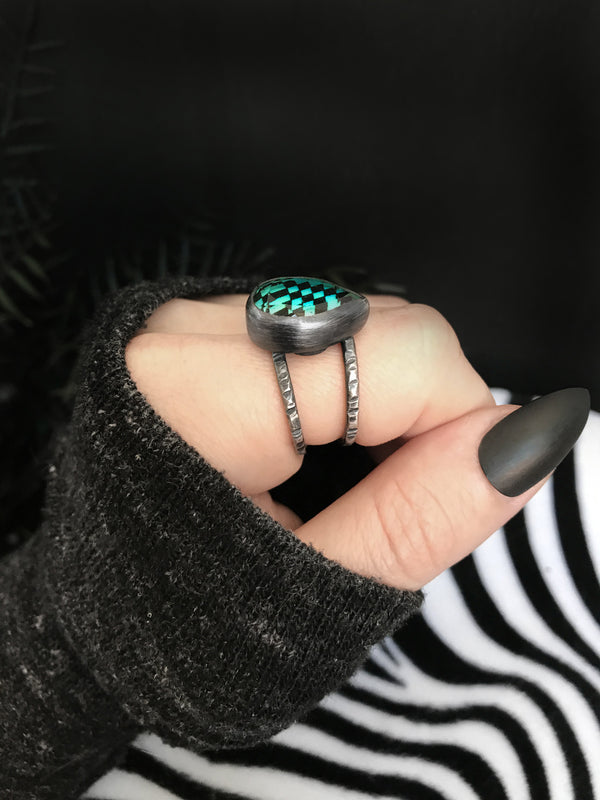 Glowing Blue Teardrop Quartz Orbit Ring
