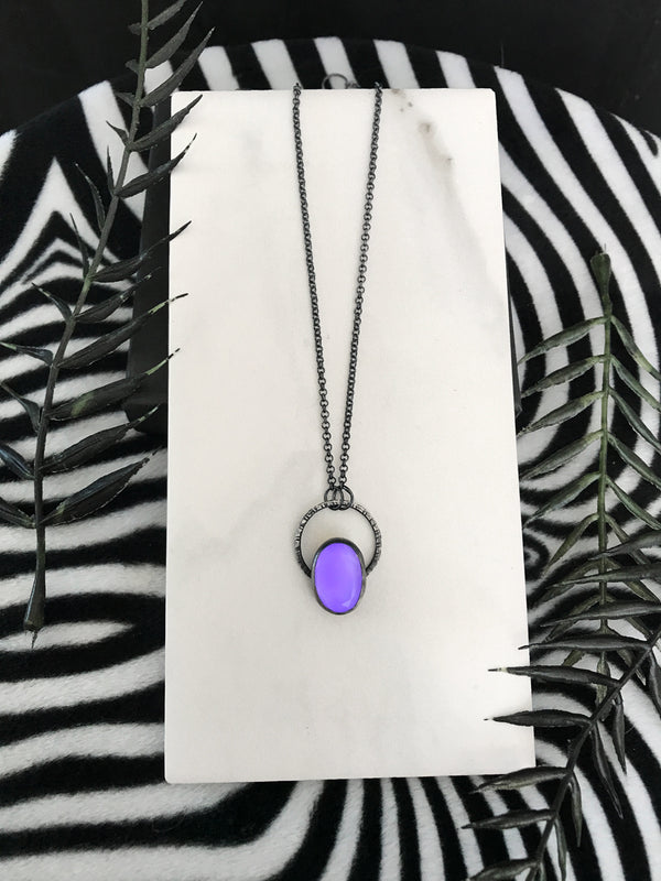 Dainty Purple Glowing Quartz Necklace