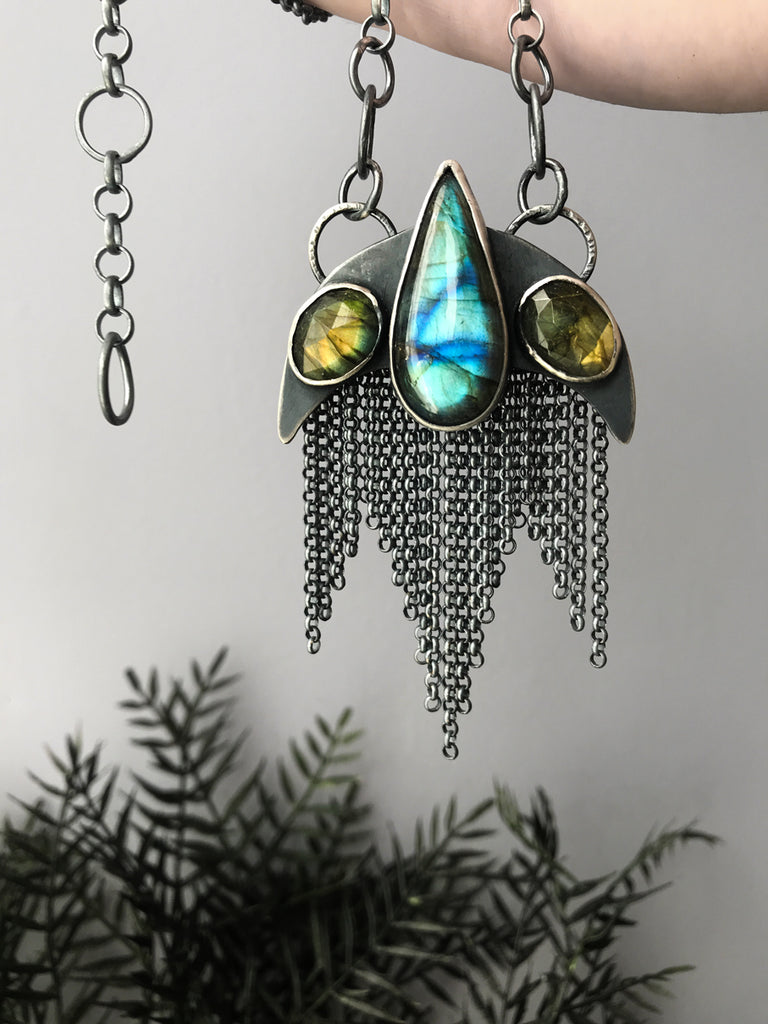 Inverted Moon Pendant with Labradorite and Chain Fringe