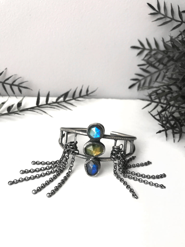 Blue, Green and Purple Labradorite Cuff Bracelet with Fringe