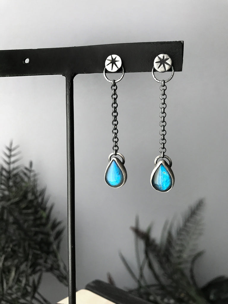 Rain Drop Earrings - Sterling Silver and Flashy Blue Labradorite