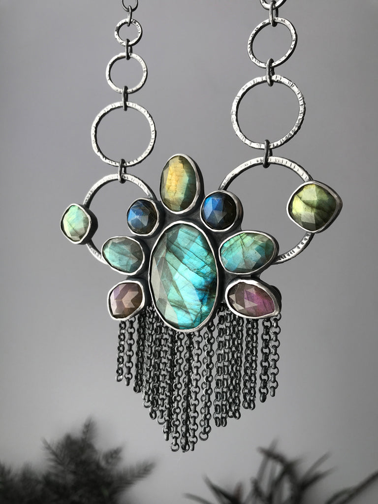 Peacock Labradorite Statement Necklace with Fringe