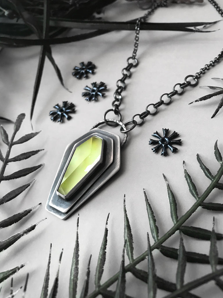 Coffin Necklace with Glowing Green Quartz