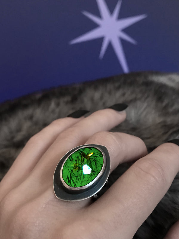 Rutilated Quartz Orbit Ring with Atomic Green Glow, Size 7.75
