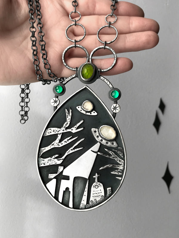 Sculptural Pendant with Flying Saucer Graveyard Scene