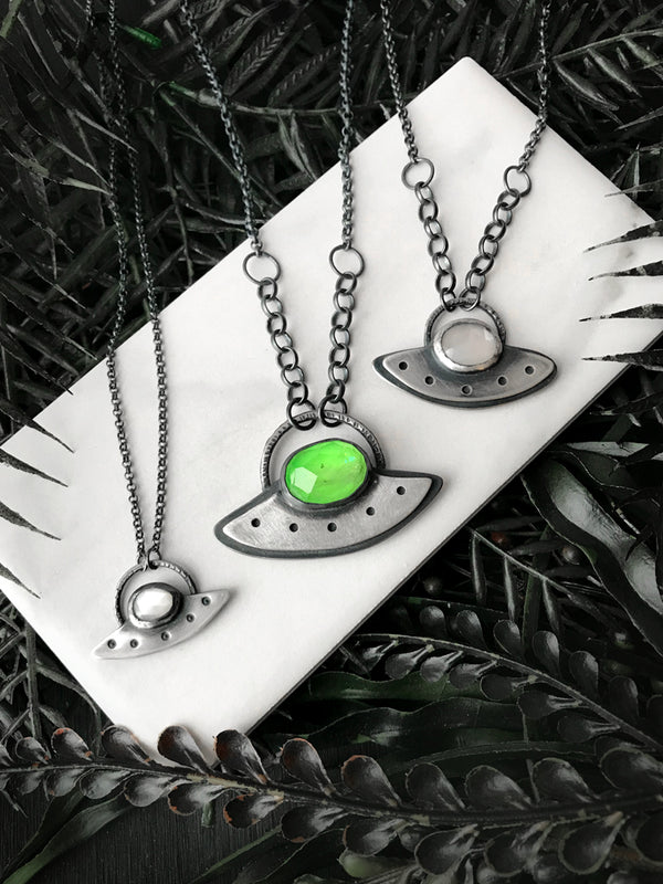 Moonstone and Peridot Flying Saucer Necklaces - 3 Available